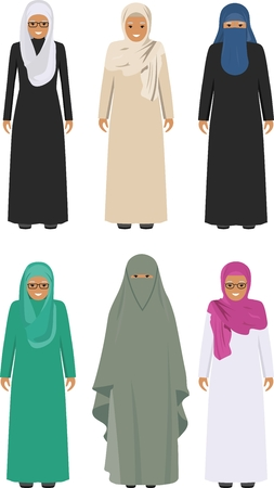niqab: Detailed illustration of different standing arab old women in the traditional national muslim arabic clothing isolated on white background in flat style. Illustration