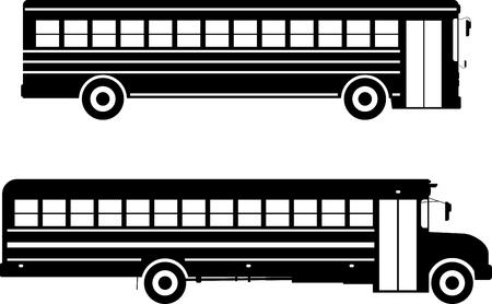 フラット スタイルの白い背景の上の古典的なスクールバスのシルエット イラスト 2 亜種。  イラスト・ベクター素材