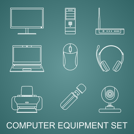 radio unit: Silhouette illustration different kind of digital devices and tools on green background. Set of digital devices and tools in flat style. Illustration