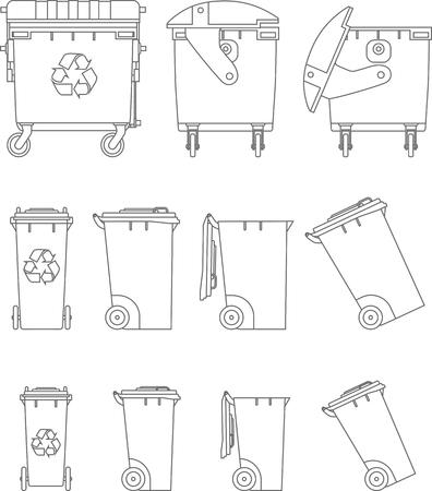 rubbish bin: Silhouette illustration of rubbish bin isolated on white background.