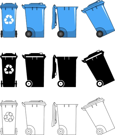 utilize: Detailed illustration of dumpsters isolated on white background in a flat style. Illustration