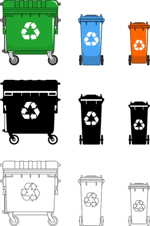 utilize: Detailed illustration of  rubbish bin isolated on white background in a flat style. Illustration