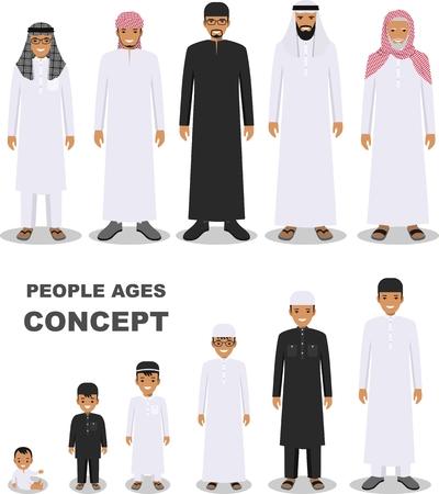 Todo el grupo de edad de la familia árabe del hombre. Generaciones el hombre. Etapas del desarrollo de las personas - infancia, la niñez, la juventud, la madurez, la vejez. Ilustración de vector
