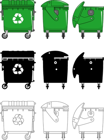 utilize: Detailed illustration of dustbins isolated on white background in a flat style.