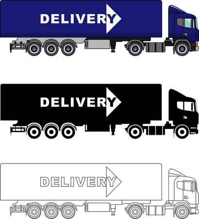 semitrailer: Detailed illustration of delivery trucks isolated on white background in a flat style.