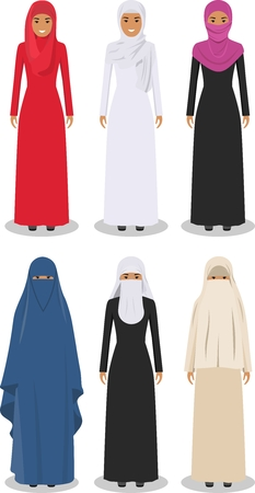 niqab: Detailed illustration of different standing arab women in the traditional national muslim arabic clothing isolated on white background in flat style.