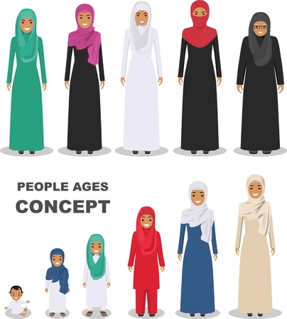 All age group of arab woman family. Generations woman. Stages of development people - infancy, childhood, youth, maturity, old age.