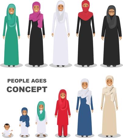Todo el grupo de edad de la familia de la mujer árabe. Generaciones mujer. Etapas del desarrollo de las personas - infancia, la niñez, la juventud, la madurez, la vejez.