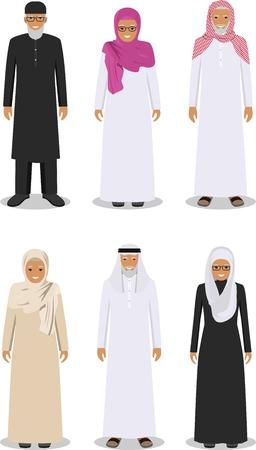 Ilustración detallada de diferentes altos hombre árabe de pie y la mujer en la ropa tradicional árabe musulmán nacionales aislados sobre fondo blanco en estilo plano.
