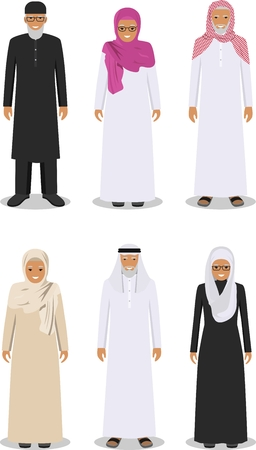 Detailed illustration of different standing arab senior man and woman in the traditional national muslim arabic clothing isolated on white background in flat style.