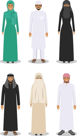 girls having fun: Detailed illustration of different standing arab man and woman in the traditional national muslim arabic clothing isolated on white background in flat style.