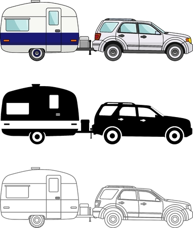 trailers: Modern caravan. Detailed illustration of car and travel trailers isolated on white background in a flat style. Stock Photo