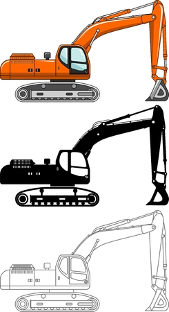 heavy: Detailed illustration of excavators, heavy equipment and machinery. Excavators. Heavy construction and mining machines.