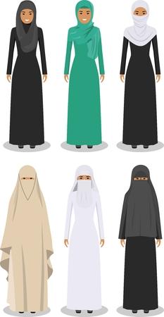 Gedetailleerde illustratie van de verschillende staande Arabische vrouwen in de traditionele nationale moslim Arabische kleding op een witte achtergrond in vlakke stijl.