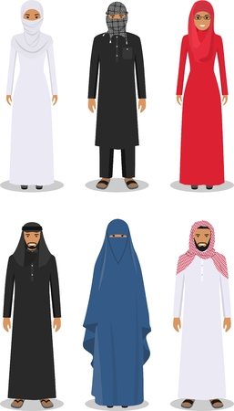 arab man: Detailed illustration of different standing arab man and woman in the traditional national muslim arabic clothing isolated on white background in flat style.