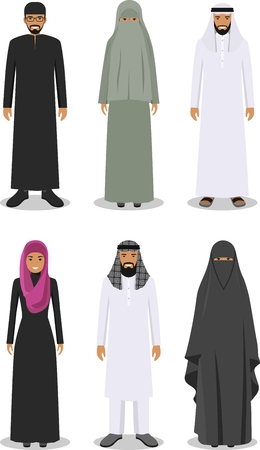 niqab: Detailed illustration of different standing arab man and woman in the traditional national muslim arabic clothing isolated on white background in flat style.