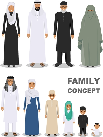 generations: All age group of arab man family. Generations man. Stages of development people - infancy, childhood, youth, maturity, old age. Arab people father, mother, son, daughter, grandmother and grandfather standing together in traditional islamic clothes. Social Illustration
