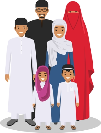 arab man: All age group of arab man family. Generations man. Arab people father, mother, son and daughter, standing together in traditional islamic clothes. Social concept. Family concept.