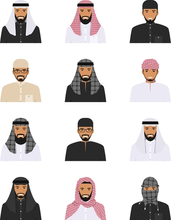 Detailed illustration of different arab men avatars icons set in the traditional national muslim arabic clothing isolated on white background in flat style. Vectores