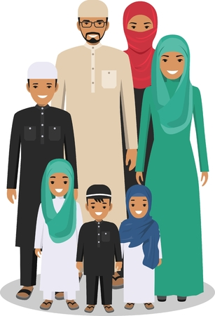 group of young adults: All age group of arab man family. Generations man. Arab people father, mother, son and daughter, standing together in traditional islamic clothes. Social concept. Family concept.