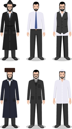hassid: Detailed illustration of different standing jewish men in the traditional national clothing isolated on white background in flat style.