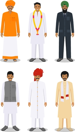 multy: Detailed illustration of different standing indian men in the traditional national indian clothing isolated on white background in flat style.