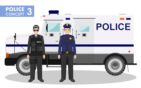 swat: Detailed illustration of police car, SWAT officer and policeman in flat style on white background. Illustration