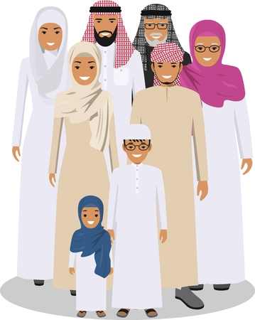 ethnicity: All age group of arab man family. Generations man. Arab people father, mother, son and daughter, standing together in traditional islamic clothes. Social concept. Family concept.