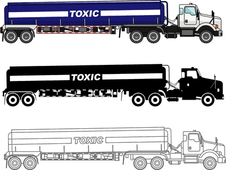 cistern: Detailed illustration of cistern trucks carrying chemical, radioactive, toxic, hazardous substances isolated on white background in a flat style. Illustration