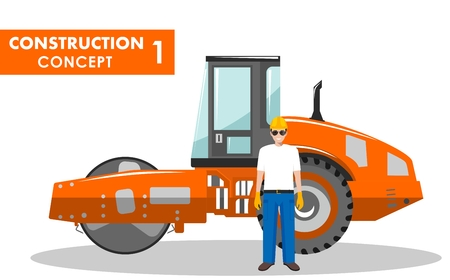 Detailed illustration of compactor and worker in flat style on white background. Illustration