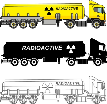 sustancias toxicas: Detailed illustration of cistern trucks carrying chemical, radioactive, toxic, hazardous substances isolated on white background in a flat style. Vectores