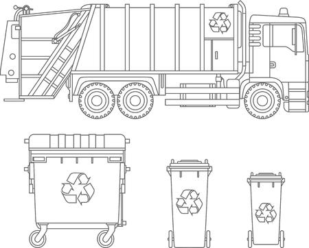 Śmieciarka i trzy warianty pojemników na śmieci na białym tle w stylu płaski.
