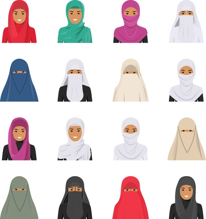 niqab: Detailed illustration of different arab woman avatars icons set in the traditional national muslim arabic clothing isolated on white background in flat style.