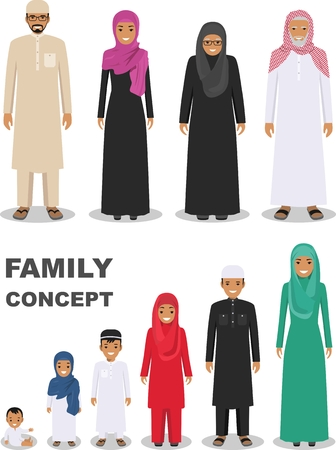 grandmother mother daughter: All age group of arab man family. Generations man. Stages of development people - infancy, childhood, youth, maturity, old age. Arab people father, mother, son, daughter, grandmother and grandfather standing together in traditional islamic clothes. Social Illustration