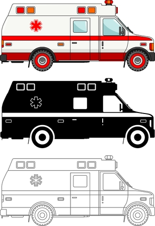 public health services: Detailed illustration of ambulance cars isolated on white background in flat style.