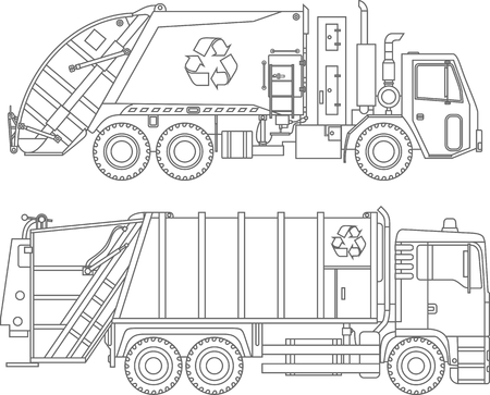 Detailed illustration of garbage trucks isolated on white background in a flat style. Stock Illustratie