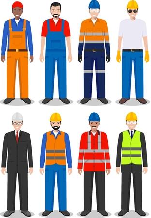 ワーカー、建築者および白い背景のフラット スタイルのエンジニアの詳細図。