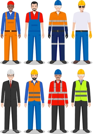 Detailed illustration of worker, builder and engineer in flat style on white background. Stock Illustratie