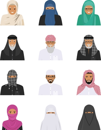 ethnicity: Detailed illustration of different arab people avatars icons set in the traditional national muslim arabic clothing isolated on white background in flat style.