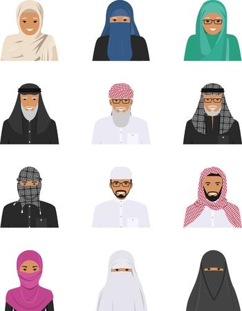 etnia: Ilustración detallada de diferentes personas árabes avatares de los iconos fijados en la ropa tradicional árabe musulmán nacionales aislados sobre fondo blanco en estilo plano.