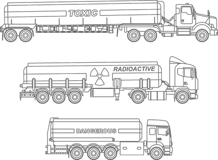 Detailed illustration of cistern trucks carrying chemical, radioactive, toxic, hazardous substances isolated on white background in a flat style. Illustration
