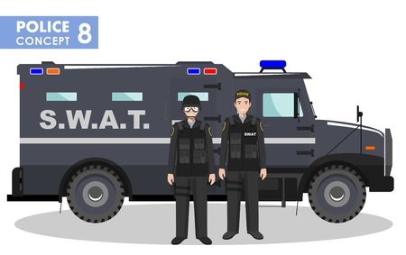 security lights: Detailed illustration of police car, SWAT officer and policeman in flat style on white background. Illustration