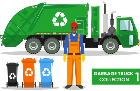 Detailed illustration of garbage man, garbage truck and different types on white background in flat style.