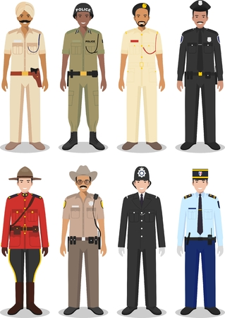 indian professional: Detailed illustrations of police different countries in a flat style on a white background.