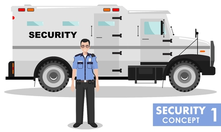 armored: Detailed illustration of armored security car and security guard on white background in flat style. Illustration