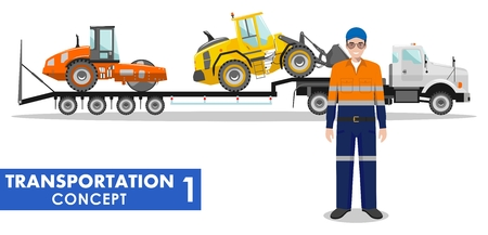 compactor: Detailed illustration of auto transporter, wheel loader, compactor and driver on white background in flat style.