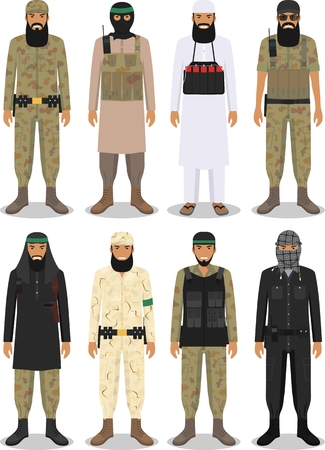 Detailed illustration of islamic arabic terrorists in flat style on white background. Illustration