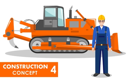 dig up: Detailed illustration of dozer and worker in flat style on white background.