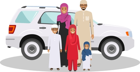 multy: All age group of arab man family. Generations man. Arab people father, mother, son and daughter, standing together in traditional islamic clothes near the car. Social concept. Family concept. Illustration