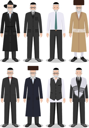 rabbi: Detailed illustration of different standing jewish old men in the traditional national clothing isolated on white background in flat style.